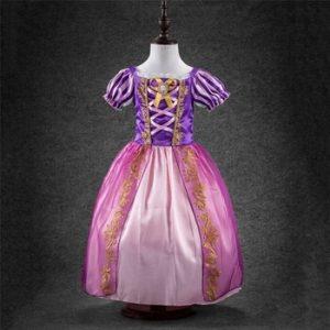Rapunzel jurk Donker paars - Bij Bambini Verkleedkleding