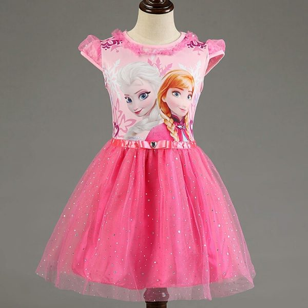 Frozen jurk Roze - Bij Bambini Verkleedkleding