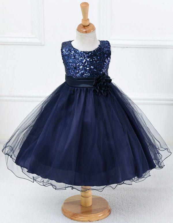 Bruidsmeisjes jurk Kind - met glitterlijfje - donkerblauw - Bij Bambini