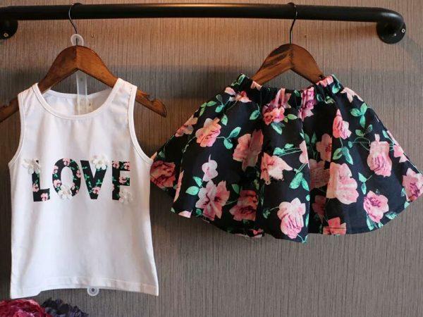 Zomer shirt met rokje met bloemen - Bij Bambini